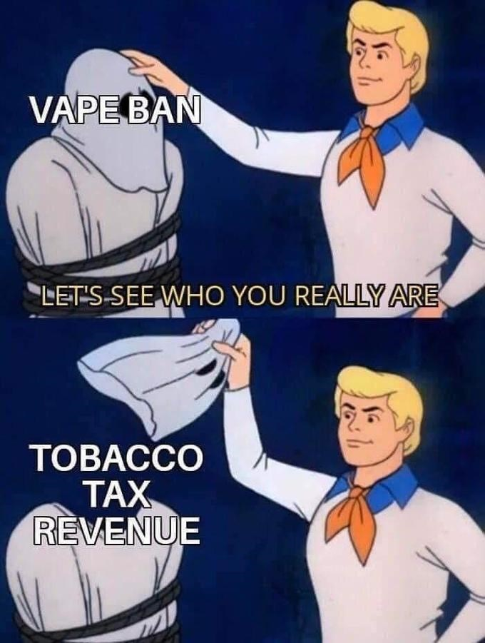 Text - Cartoon - VAPE BAN LETS-SEE WHO YOU REALLY ARE ТОВАССО ТАХ REVENUE