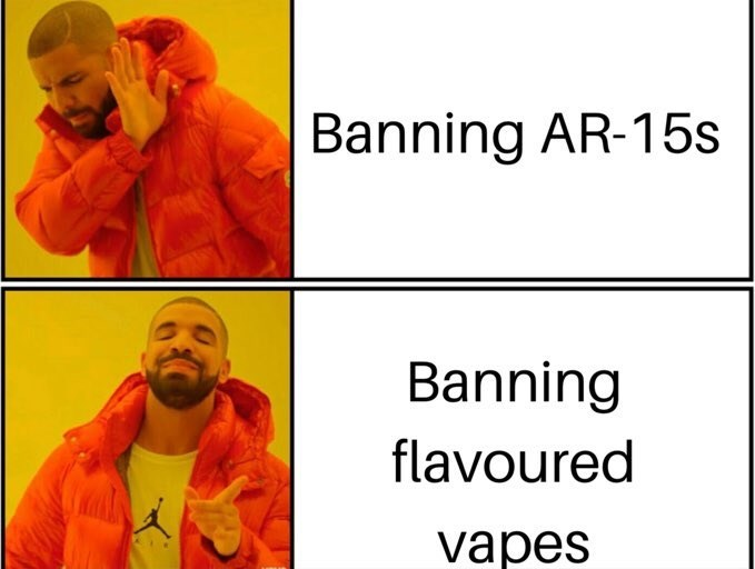Text - Banning AR-15s Banning flavoured vapes