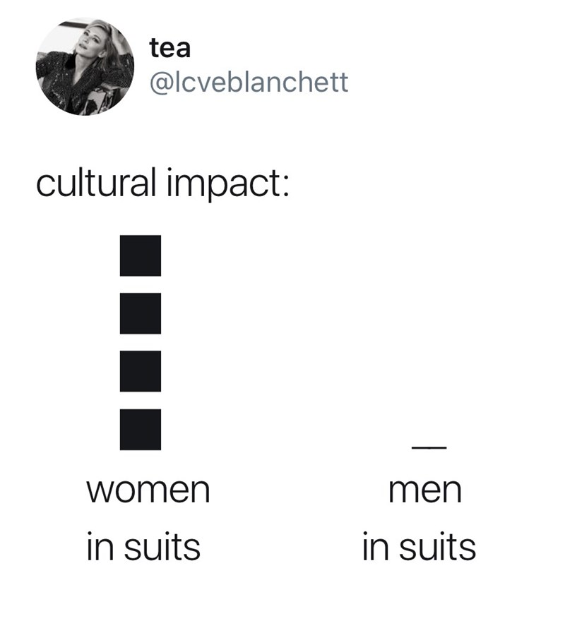 Text - tea @lcveblanchett cultural impact: men women in suits in suits