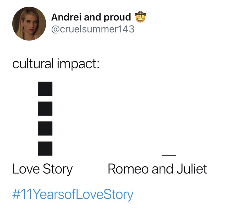 Text - Andrei and proud @cruelsummer143 cultural impact: Love Story Romeo and Juliet #11YearsofLoveStory