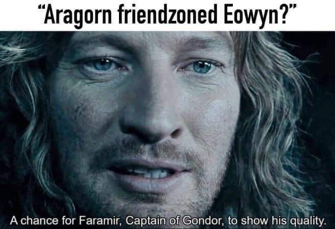 """Face - """"Aragorn friendzoned Eowyn?"""" A chance for Faramir, Captain of Gondor, to show his quality."""