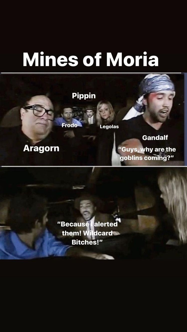 """Photo caption - Mines of Moria Pippin Frodo Legolas Gandalf Aragorn """"Guys, why are the goblins coming?"""" """"Because alerted them! Wildcard Bitches!"""""""