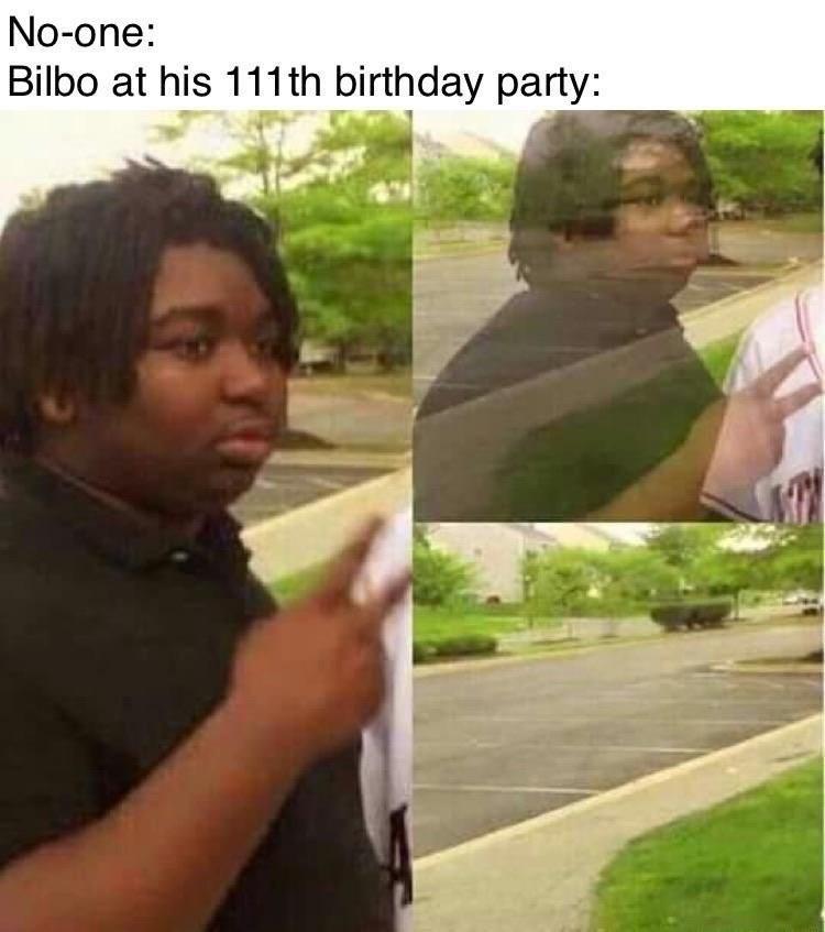 Adaptation - No-one: Bilbo at his 111th birthday party: