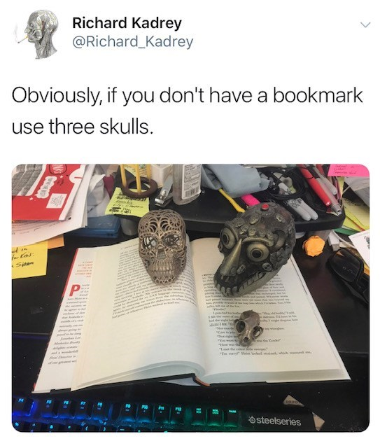 "Turtle - Richard Kadrey @Richard_Kadrey Obviously, if you don't have a bookmark use three skulls. fotos Siten P w L M w sedw ""T y osteelseries"