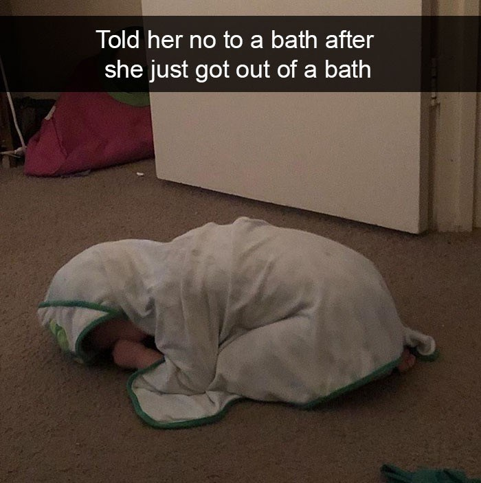 Photo caption - Told her no to a bath after she just got out of a bath