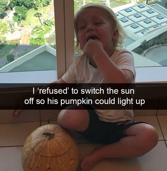Pumpkin - I'refused' to switch the sun off so his pumpkin could light up