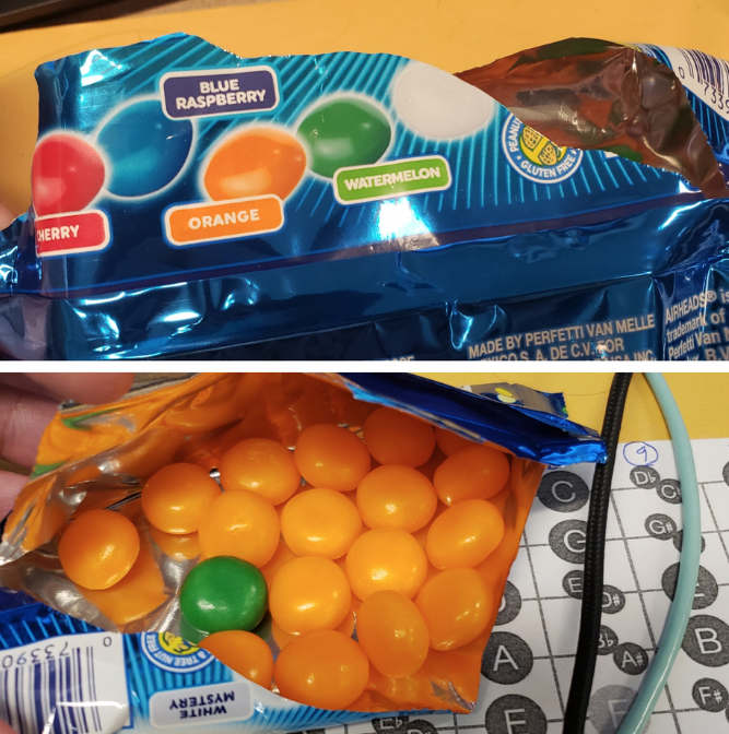 expectation vs reality - Food - BLUE RASPBERRY GLUTER WATERMELON CHERRY ORANGE MADE BY PERFETTI VAN MELLE AIRHEADS trademark COSA DE C.V.OR AINC Parte G+ 73390 A At MYSTERY F B
