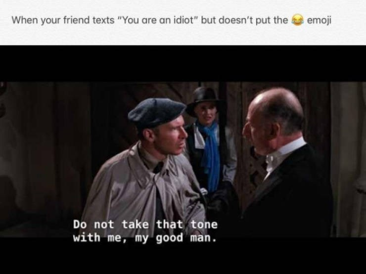 """Photograph - When your friend texts """"You are an idiot"""" but doesn't put the emoji Do not take that tone with me, my good man"""