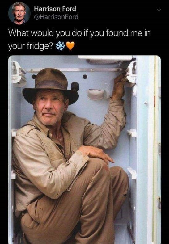 Photography - Harrison Ford @HarrisonFord What would you do if you found me in your fridge?