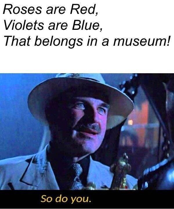 Photo caption - Roses are Red, Violets are Blue, That belongs in a museum! So do you.