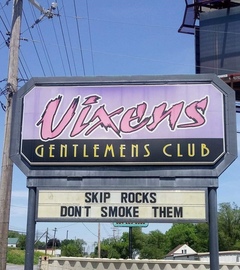 Font - Vixens GENTLEMENS CLUD SKIP ROCKS DON'T SMOKE THEM