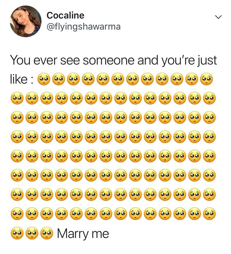 Text - Cocaline @flyingshawarma You ever see someone and you're just like Marry me 86 86 86 86