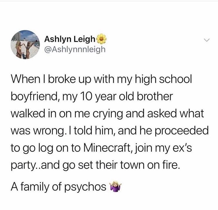 Text - Ashlyn Leigh @Ashlynnnleigh When I broke up with my high school boyfriend, my 10 year old brother walked in on me crying and asked what was wrong. I told him, and he proceeded to go log on to Minecraft, join my ex's party..and go set their town on fire. A family of psychos