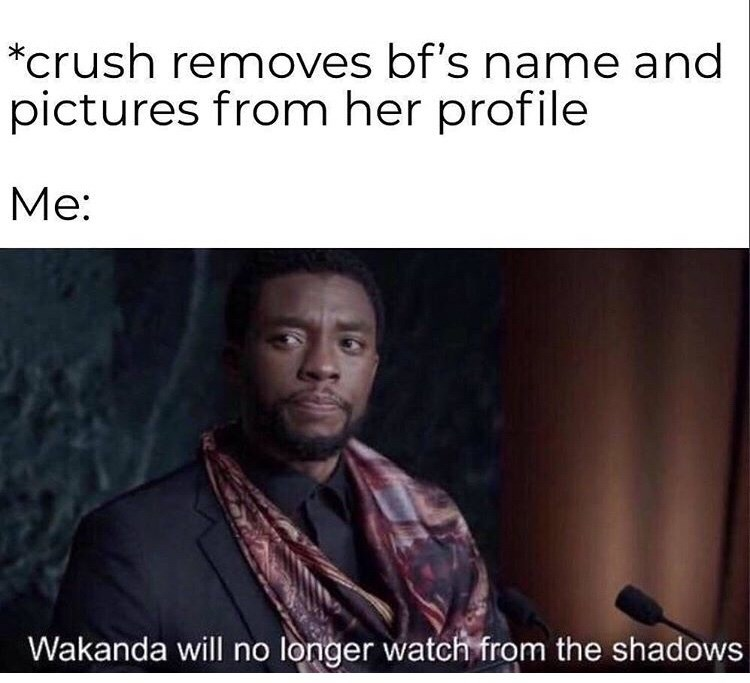 Text - *crush removes bf's name and pictures from her profile Ме: Wakanda will no longer watch from the shadows