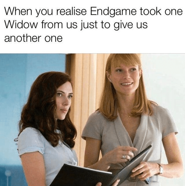 Text - When you realise Endgame took one Widow from us just to give us another one