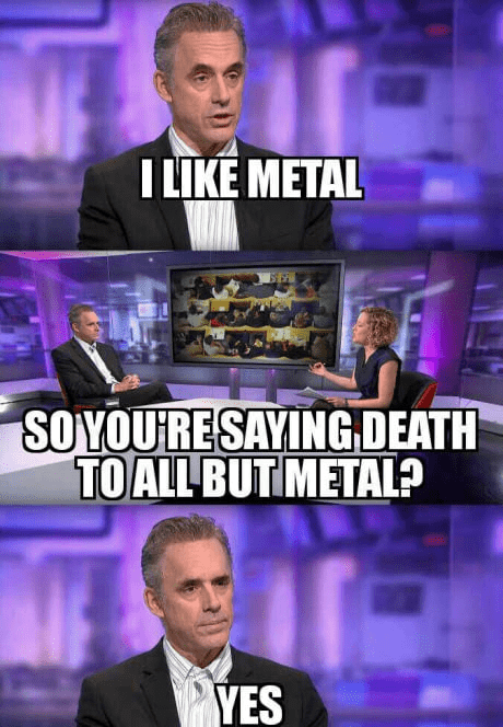 Television presenter - ILIKE METAL SOYOURESAYING DEATH TOALL BUT METAL? YES