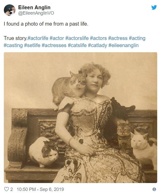 Photograph - Eileen Anglin @EileenAnglinVO I found a photo of me from a past life. True story.#actorlife #actor #actorslife #actors #actress #acting #casting #setlife #actresses #catslife #catlady #eileenanglin 2 10:50 PM - Sep 6, 2019