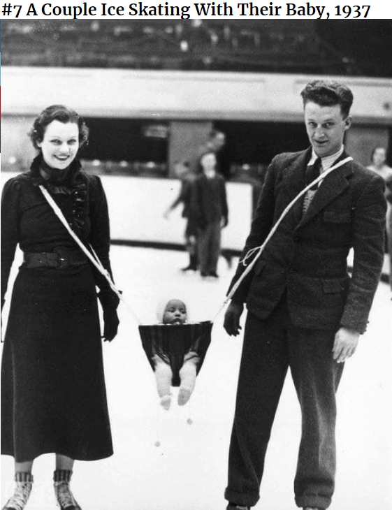 Snapshot - #7 A Couple Ice Skating With Their Baby, 1937