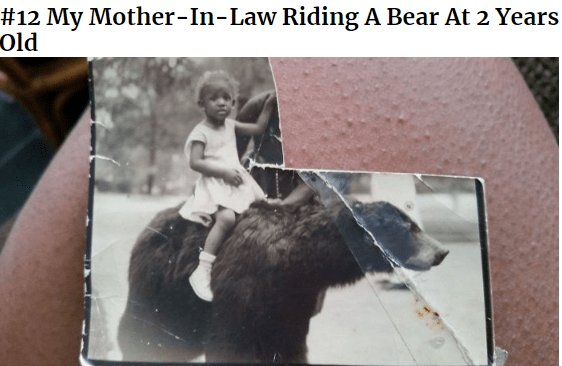 Photo caption - #12 My Mother-In-Law Riding A Bear At 2 Years Old