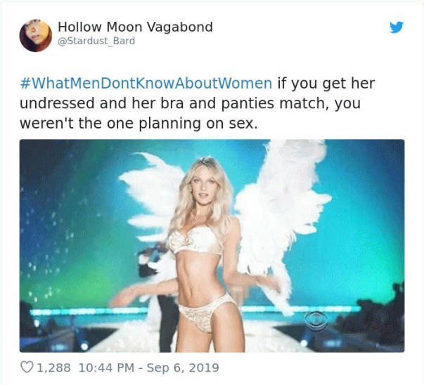Bikini - Hollow Moon Vagabond @Stardust Bard #WhatMenDontKnowAboutWomen if you get her undressed and her bra and panties match, you weren't the one planning on sex. 1,288 10:44 PM Sep 6, 2019