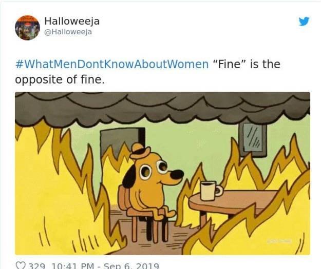 "Cartoon - Halloweeja @Halloweeja #WhatMenDontKnowAboutWomen ""Fine"" is the opposite of fine. ihu 329 10:41 PM- Sen 6, 2019"