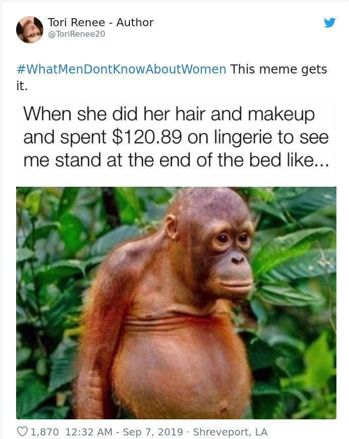 Orangutan - Tori Renee Author @ToriRenee20 #WhatMenDontkKnowAboutWomen This meme gets it. When she did her hair and makeup and spent $120.89 on lingerie to see me stand at the end of the bed like..
