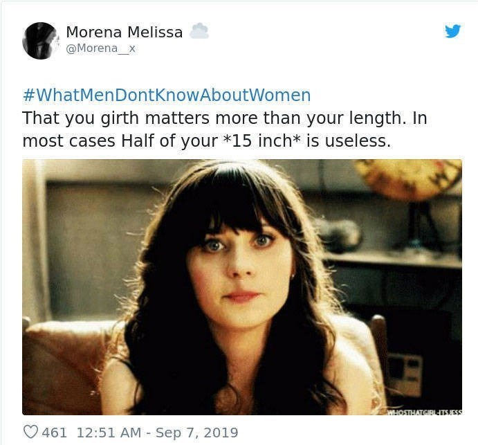 Text - Morena Melissa @Morena x #WhatMenDontKnowAboutWomen That you girth matters more than your length. In most cases Half of your *15 inch* is useless. WHOSTHATGIRTSJESS 461 12:51 AM Sep 7, 2019