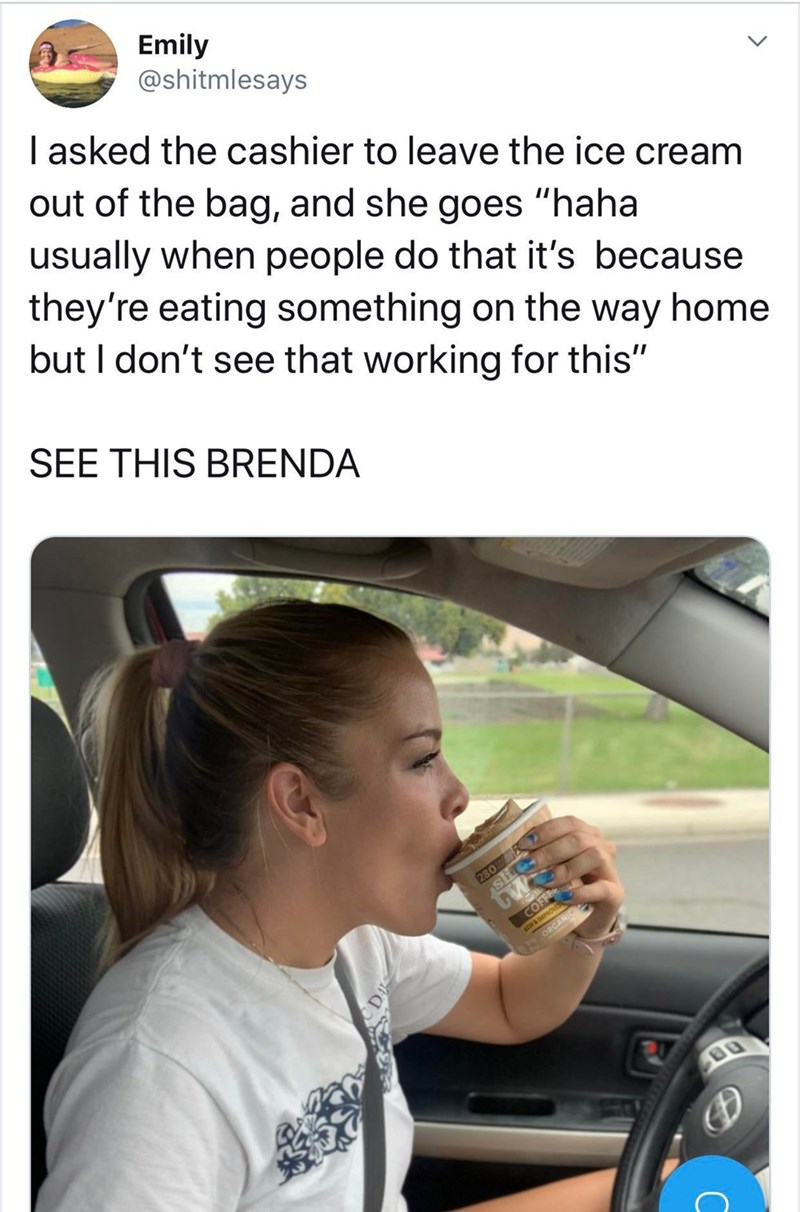 """Text - Vehicle door - Emily @shitmlesays I asked the cashier to leave the ice cream out of the bag, and she goes """"haha usually when people do that it's because they're eating something on the way home but I don't see that working for this"""" SEE THIS BRENDA 280 tw COFFEE ORCANIC"""