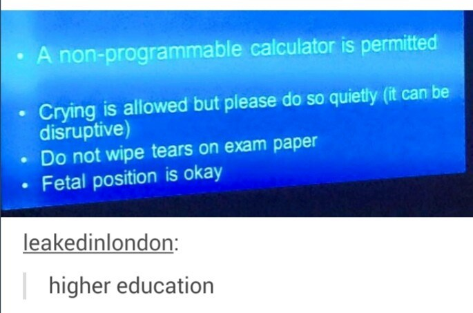 Text - A non-programmable calculator is permitted Crying is allowed but please do so quietly (it can be disruptive) Do not wipe tears on exam paper Fetal position is okay leakedinlondon: higher education
