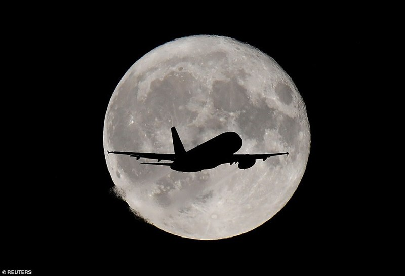 full harvest moon with silhouette of airplane flying against it