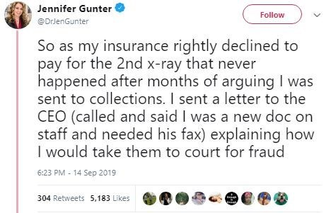 Text - Jennifer Gunter Follow @DrlenGunter So as my insurance rightly declined to pay for the 2nd x-ray that never happened after months of arguing I was sent to collections. I sent a letter to the CEO (called and said I was a new doc on staff and needed his fax) explaining how I would take them to court for fraud 6:23 PM -14 Sep 2019 304 Retweets 5,183 Likes