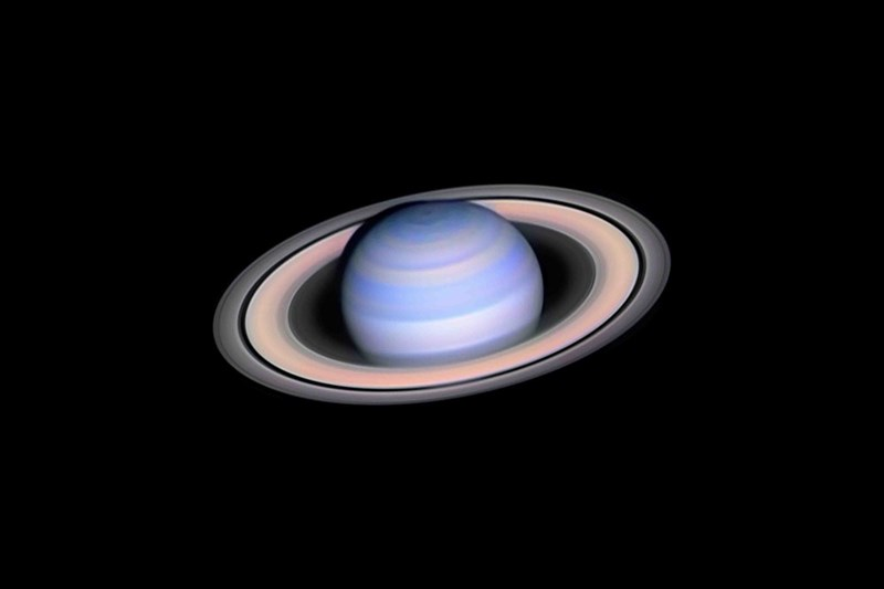 photo of blue and pink saturn