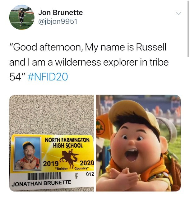 """Text - Jon Brunette @jbjon9951 """"Good afternoon, My name is Russell and I am a wilderness explorer in tribe 54"""" #NFID20 NORTH FARMINGTON HIGH SCHOOL 2020 Country"""" 012 2019 """"Raider JONATHAN BRUNETTE"""