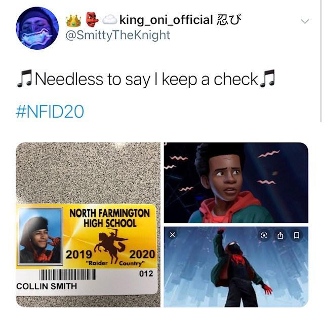 "Font - king oni official U @SmittyTheKnight Needless to say I keep a check #NFID20 NORTH FARMINGTON HIGH SCHOOL 2019 2020 Country"" ""Raider 012 COLLIN SMITH"