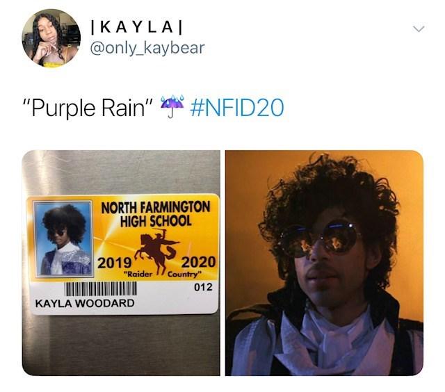 "Text - | KAYLA @only_kaybear ""Purple Rain"" #NFID20 NORTH FARMINGTON HIGH SCHOOL 2020 Country 012 2019 ""Raider KAYLA WOODARD"