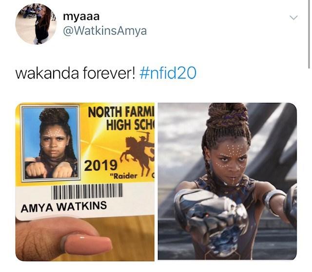 """People - myaaa @WatkinsAmya wakanda forever! #nfid20 NORTH FARMI HIGH SCH 2019 """"Raider AMYA WATKINS"""