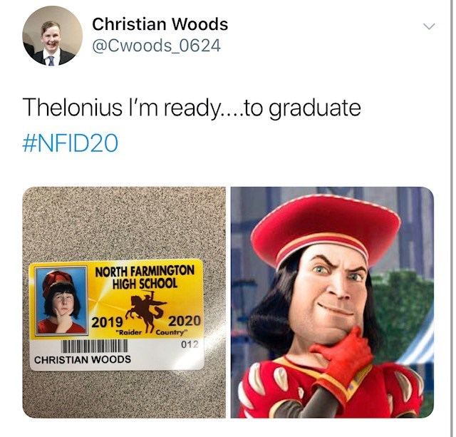 """Text - Christian Woods @Cwoods_0624 Thelonius I'm ready....to graduate #NFID20 NORTH FARMINGTON HIGH SCHOOL 2020 2019 """"Raider Country"""" 012 CHRISTIAN WOODS"""
