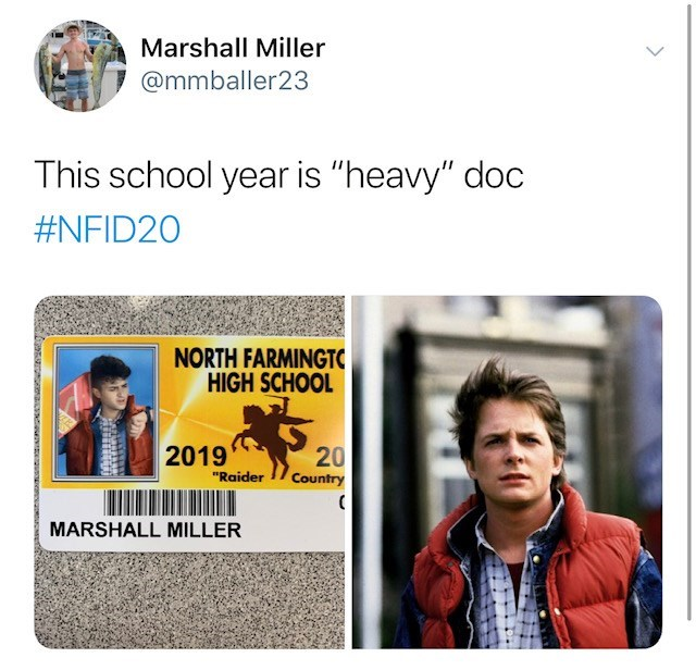 """Text - Marshall Miller @mmballer23 This school year is """"heavy"""" doc #NFID20 NORTH FARMINGTC HIGH SCHOOL 2019 20 """"Raider Country ( MARSHALL MILLER"""
