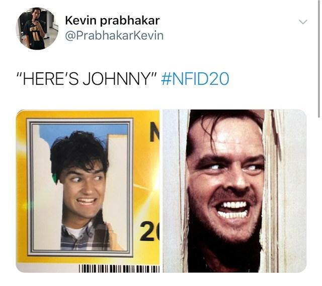 """Face - Kevin prabhakar @PrabhakarKevin """"HERE'S JOHNNY"""" #NFID20 2¢"""