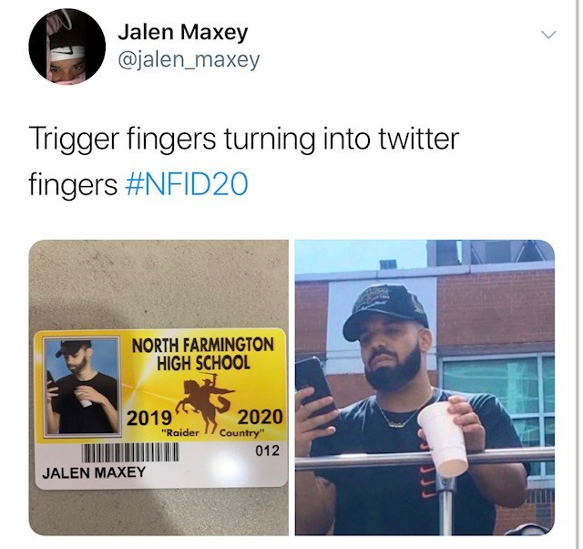 """Text - Jalen Maxey @jalen_maxey Trigger fingers turning into twitter fingers #NFID20 NORTH FARMINGTON HIGH SCHOOL 2020 Country"""" 2019 """"Raider 012 JALEN MAXEY"""
