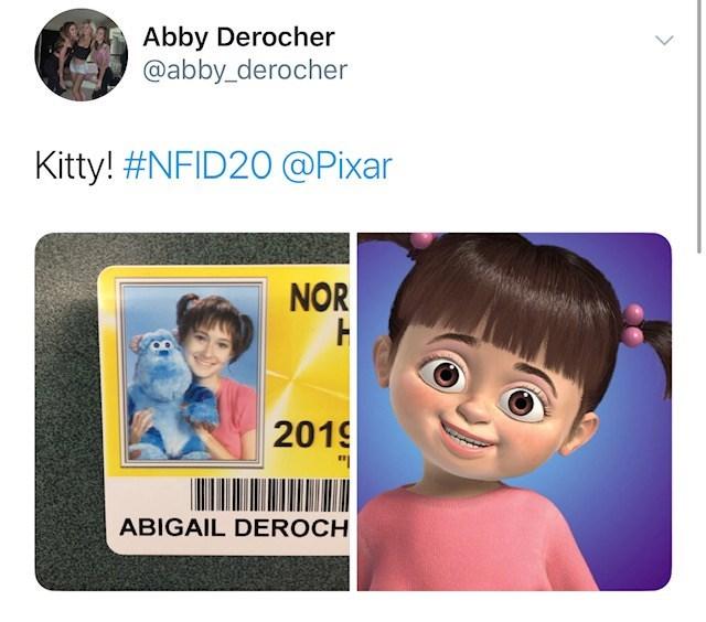 Face - Abby Derocher @abby_derocher Kitty! #NFID20 @Pixar NOR H 2019 ABIGAIL DEROCH