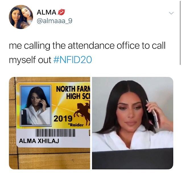 "Facial expression - ALMA @almaaa_9 calling the attendance office to call myself out #NFID20 NORTH FARM HIGH SCI 2019 ""Raider ALMA XHILAJ"