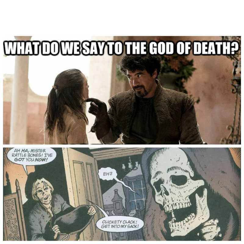 Comics - WHATDOWE SAYTO THE GOD OF DEATH AH HA, MISTER RATTLE BONES! I'VE GOT YOU NOW! EH2 CLICKETY CLACK! GET INTO MY SACK!