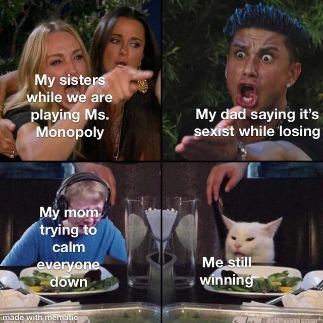 Facial expression - My sisters while we are playing Ms. Monopoly My dad saying it's sexist while losing My mom trying to calm Me still- winning everyone down made with mematic