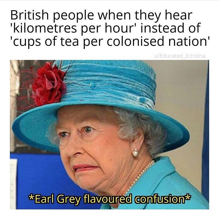 Headgear - British people when they hear 'kilometres per hour' instead of cups of tea per colonised nation' u/Educated Echidna Earl Grey flavoured confusion