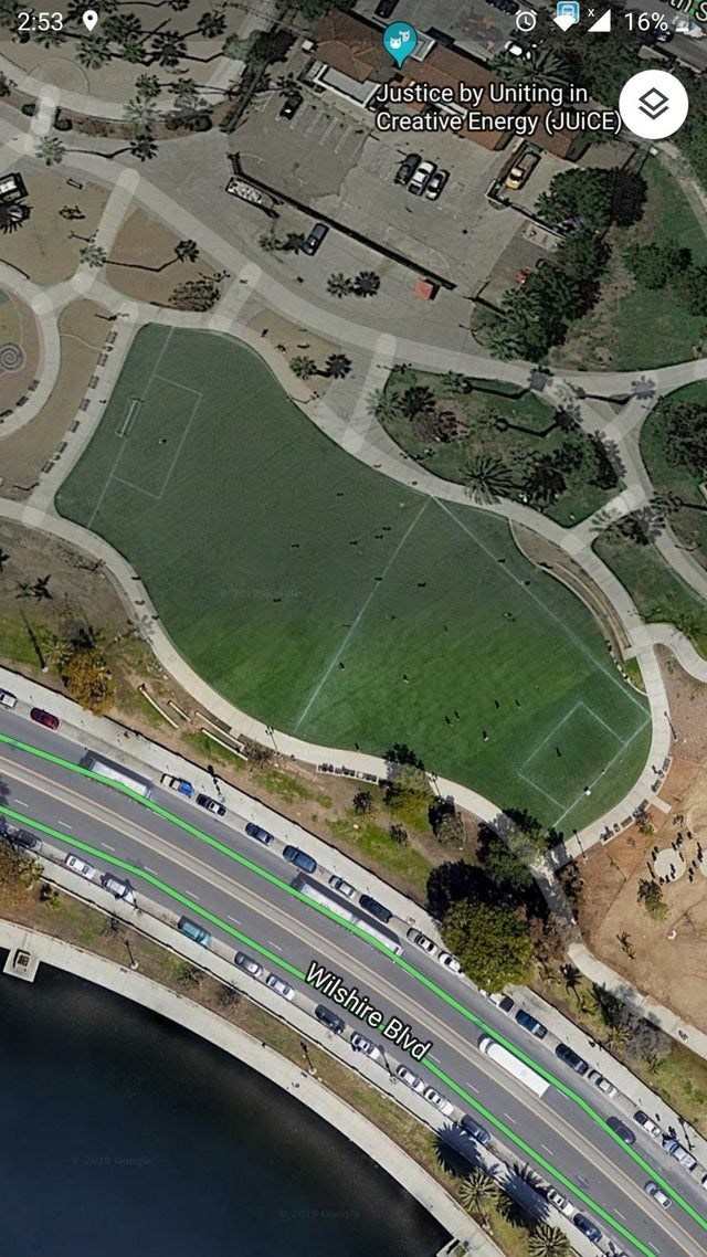 Aerial photography - 16% 2:53 Justice by Uniting in Creative Energy (JUICE) Wilshire Blvd 93016 Gg