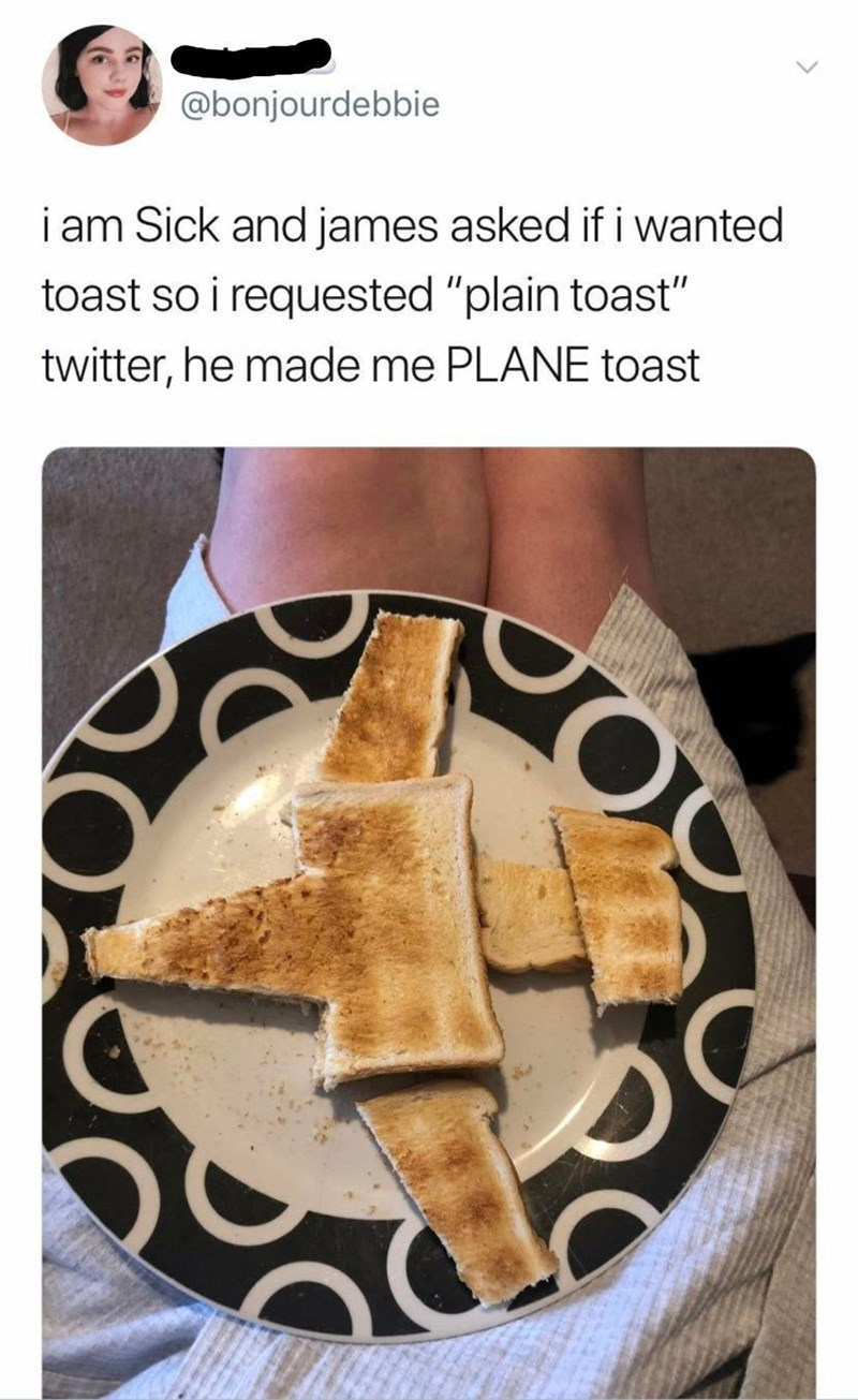 "Food - @bonjourdebbie i am Sick and james asked if i wanted toast so i requested ""plain toast"" twitter, he made me PLANE toast"