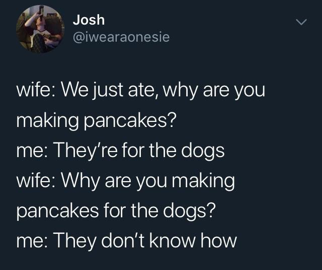 Text - Josh @iwearaonesie wife: We just ate, why are you making pancakes? me: They're for the dogs wife: Why are you making pancakes for the dogs? me: They don't know how