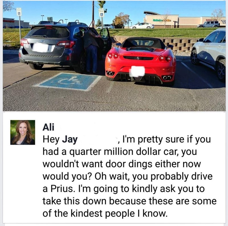 Land vehicle - Ali I'm pretty sure if you Hey Jay had a quarter million dollar car, you wouldn't want door dings either now would you? Oh wait, you probably drive a Prius. I'm going to kindly ask you to take this down because these are some of the kindest people I know.
