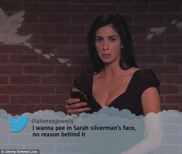 Lady - @alonzojewels I wanna pee in Sarah silverman's face no reason behind it Jimmy Kimmel Live